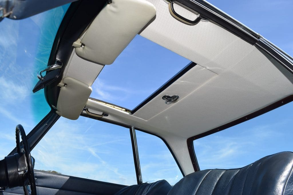 Interior view of 280SL/8 Pagoda hardtop sunroof fitment
