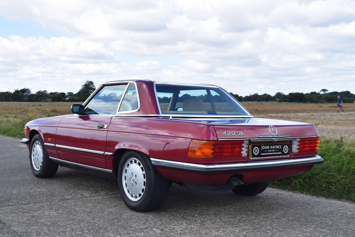 1989 Mercedes 420SL in Almandine Red Metallic